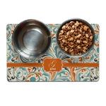 Orange & Blue Leafy Swirls Dog Food Mat (Personalized)
