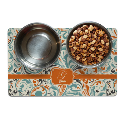 Orange & Blue Leafy Swirls Pet Bowl Mat (Personalized)