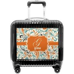 Orange & Blue Leafy Swirls Pilot / Flight Suitcase (Personalized)