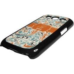 Orange & Blue Leafy Swirls Plastic Samsung Galaxy 3 Phone Case (Personalized)