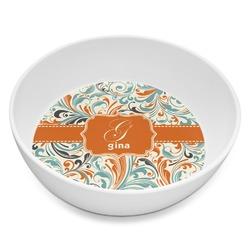 Orange & Blue Leafy Swirls Melamine Bowl 8oz (Personalized)