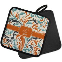 Orange & Blue Leafy Swirls Pot Holder w/ Name and Initial
