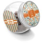 Orange & Blue Leafy Swirls Puppy Treat Jar (Personalized)