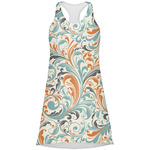 Orange & Blue Leafy Swirls Racerback Dress (Personalized)
