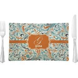 Orange & Blue Leafy Swirls Glass Rectangular Lunch / Dinner Plate - Single or Set (Personalized)