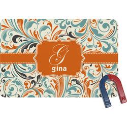 Orange & Blue Leafy Swirls Rectangular Fridge Magnet (Personalized)