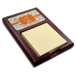Orange & Blue Leafy Swirls Red Mahogany Sticky Note Holder (Personalized)