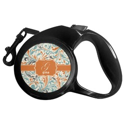 Orange & Blue Leafy Swirls Retractable Dog Leash (Personalized)
