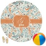 Orange & Blue Leafy Swirls Round Beach Towel (Personalized)
