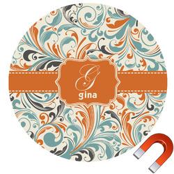 Orange & Blue Leafy Swirls Round Car Magnet (Personalized)