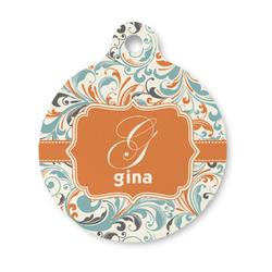 Orange & Blue Leafy Swirls Round Pet Tag (Personalized)