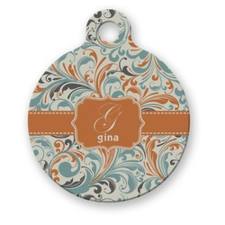 Orange & Blue Leafy Swirls Round Pet Tag (Personalized)