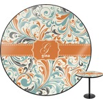 Orange & Blue Leafy Swirls Round Table (Personalized)