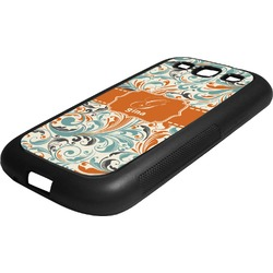 Orange & Blue Leafy Swirls Rubber Samsung Galaxy 3 Phone Case (Personalized)