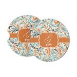 Orange & Blue Leafy Swirls Sandstone Car Coasters (Personalized)
