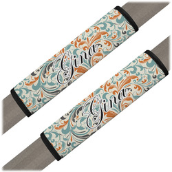 Orange & Blue Leafy Swirls Seat Belt Covers (Set of 2) (Personalized)