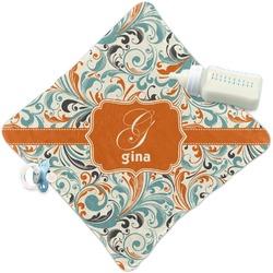 Orange & Blue Leafy Swirls Security Blanket (Personalized)