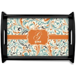 Orange & Blue Leafy Swirls Black Wooden Tray (Personalized)