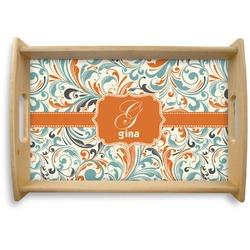 Orange & Blue Leafy Swirls Natural Wooden Tray (Personalized)
