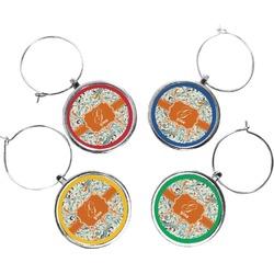 Orange & Blue Leafy Swirls Wine Charms (Set of 4) (Personalized)