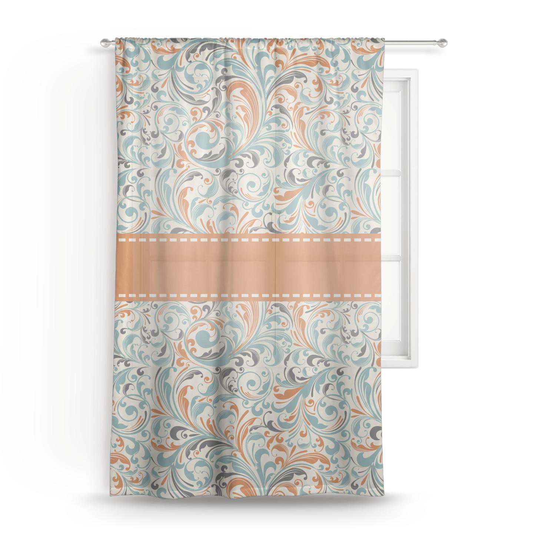 Orange Amp Blue Leafy Swirls Sheer Curtains Personalized