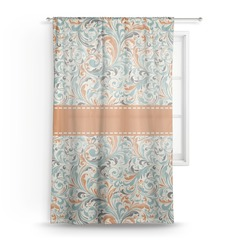 Orange & Blue Leafy Swirls Sheer Curtains (Personalized)