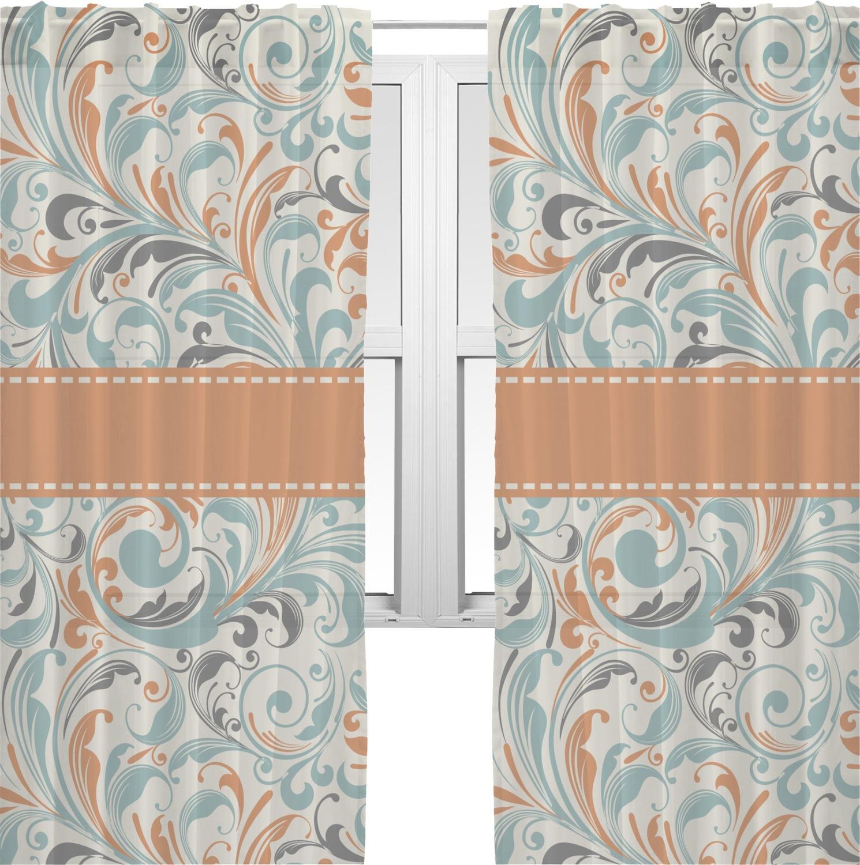 Orange & Blue Leafy Swirls Sheer Curtains (Personalized) - Orange & Blue Leafy Swirls Sheer Curtains (Personalized
