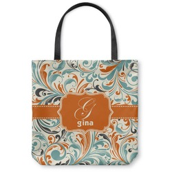 Orange & Blue Leafy Swirls Canvas Tote Bag (Personalized)