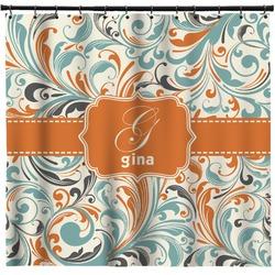 Orange & Blue Leafy Swirls Shower Curtain (Personalized)