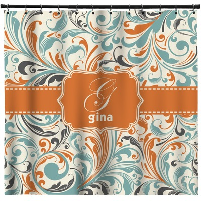 Orange & Blue Leafy Swirls Shower Curtain (Personalized)