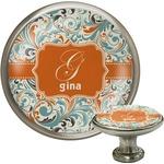 Orange & Blue Leafy Swirls Cabinet Knob (Silver) (Personalized)