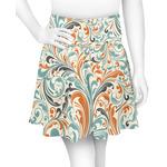 Orange & Blue Leafy Swirls Skater Skirt (Personalized)