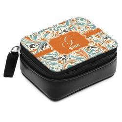 Orange & Blue Leafy Swirls Small Leatherette Travel Pill Case (Personalized)