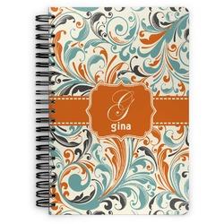 Orange & Blue Leafy Swirls Spiral Bound Notebook (Personalized)