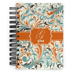 Orange & Blue Leafy Swirls Spiral Bound Notebook - 5x7 (Personalized)