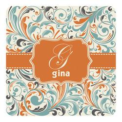 Orange & Blue Leafy Swirls Square Decal (Personalized)
