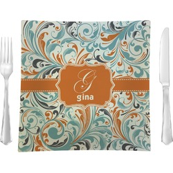 "Orange & Blue Leafy Swirls 9.5"" Glass Square Lunch / Dinner Plate- Single or Set of 4 (Personalized)"