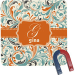 Orange & Blue Leafy Swirls Square Fridge Magnet (Personalized)