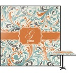 Orange & Blue Leafy Swirls Square Table Top (Personalized)