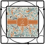 Orange & Blue Leafy Swirls Square Trivet (Personalized)