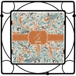 Orange & Blue Leafy Swirls Square Trivet (Personalized)