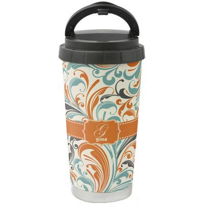 Orange & Blue Leafy Swirls Stainless Steel Travel Mug (Personalized)