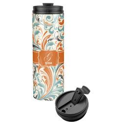 Orange & Blue Leafy Swirls Stainless Steel Tumbler (Personalized)