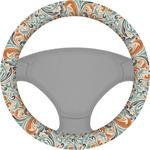 Orange & Blue Leafy Swirls Steering Wheel Cover (Personalized)