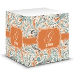 Orange & Blue Leafy Swirls Sticky Note Cube (Personalized)