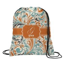Orange & Blue Leafy Swirls Drawstring Backpack (Personalized)