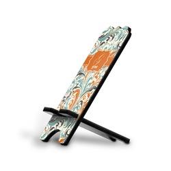 Orange & Blue Leafy Swirls Stylized Phone Stand (Personalized)