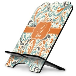 Orange & Blue Leafy Swirls Stylized Tablet Stand (Personalized)