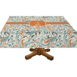 Orange & Blue Leafy Swirls Tablecloth (Personalized)