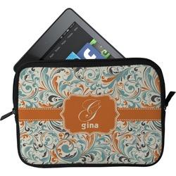Orange & Blue Leafy Swirls Tablet Case / Sleeve (Personalized)